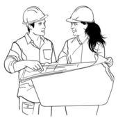 Kresba černé a bílé mladých architektů — Stock vektor