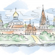 Russian Monastery and river, vector illustration - Stock Vector