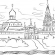 Stock Vector: Russian Monastery and river, vector illustration