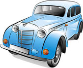 Drawing of the retro car, vector illustration — Vecteur