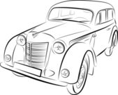 Drawing of the retro car, vector illustration — Stock Vector