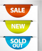 Round Sale New Sold out label set — Stock Vector