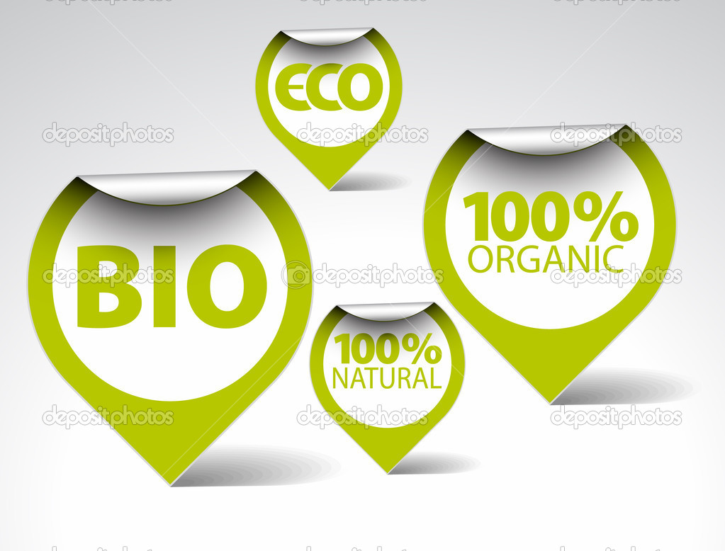 Set of green tags for organic, natural, eco, bio food — Stock Vector #5544582