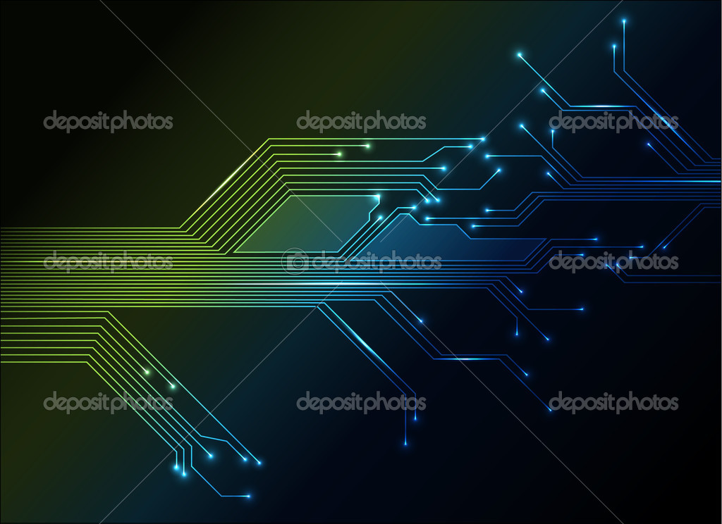 Electronic circuit abstract green and blue background — Stock Vector #5544629