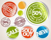 Set of labels and stickers - sale and best price — Stock Vector