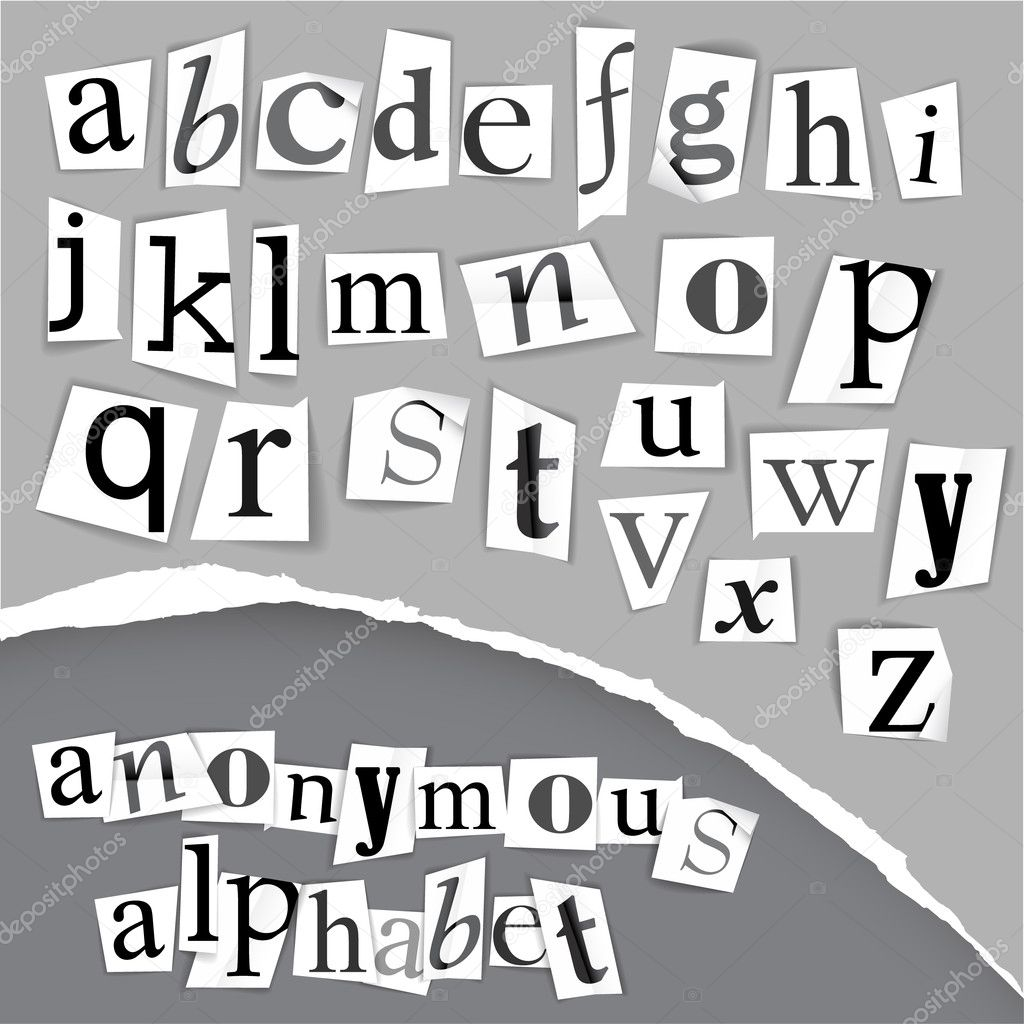 Anonymous alphabet made from newspapers - black and white detailed letters  Stock Vector #5587625