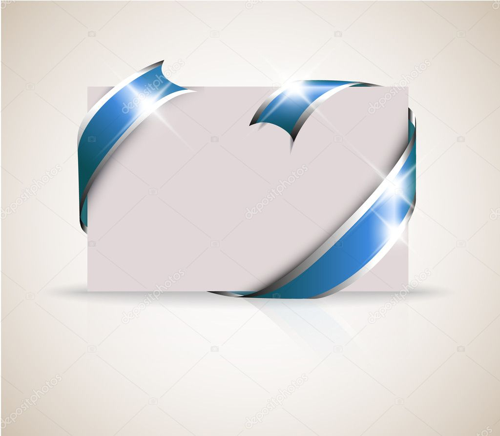 Wedding card - blue ribbon around blank white paper, where you should write your text  Stok Vektr #5587631