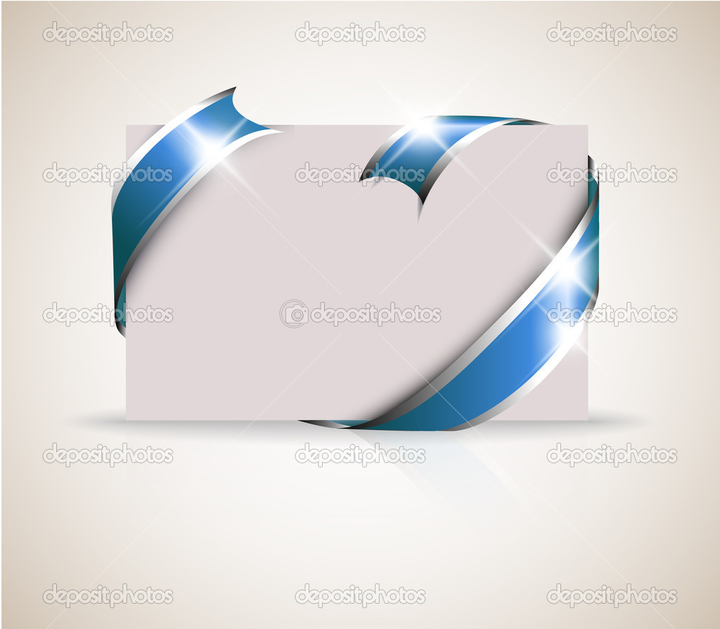 Wedding card - blue ribbon around blank white paper, where you should write your text — Image vectorielle #5587631