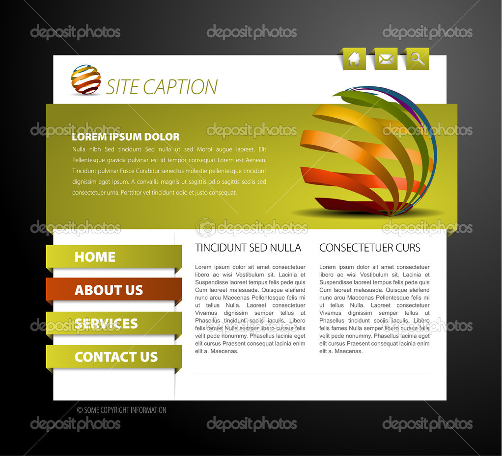 Modern web page template - with 3d navigation items  Stock Vector #5588305