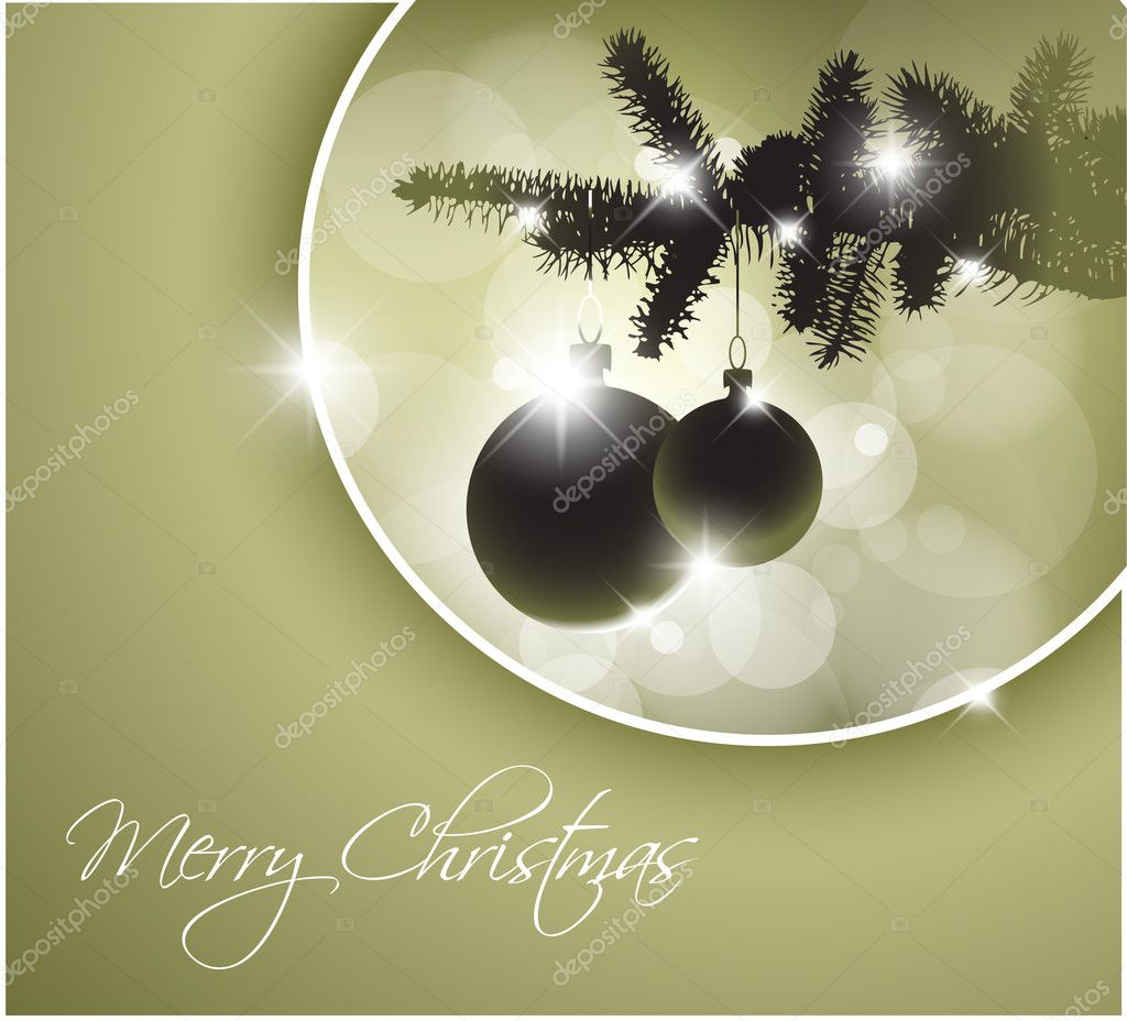 Vector silhouette of a Christmas tree with bulbs and place for your text — Stock Vector #5589264