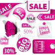 Set of pink discount elements - Stok Vektör