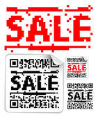 Set of sale labels with qr codes — Stock Vector