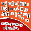 Anonymous alphabet - white clippings - Stockvektor