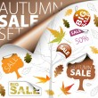Set of autumn discount tickets, labels, stamps, stickers, corners, tags (ve — Stock Vector