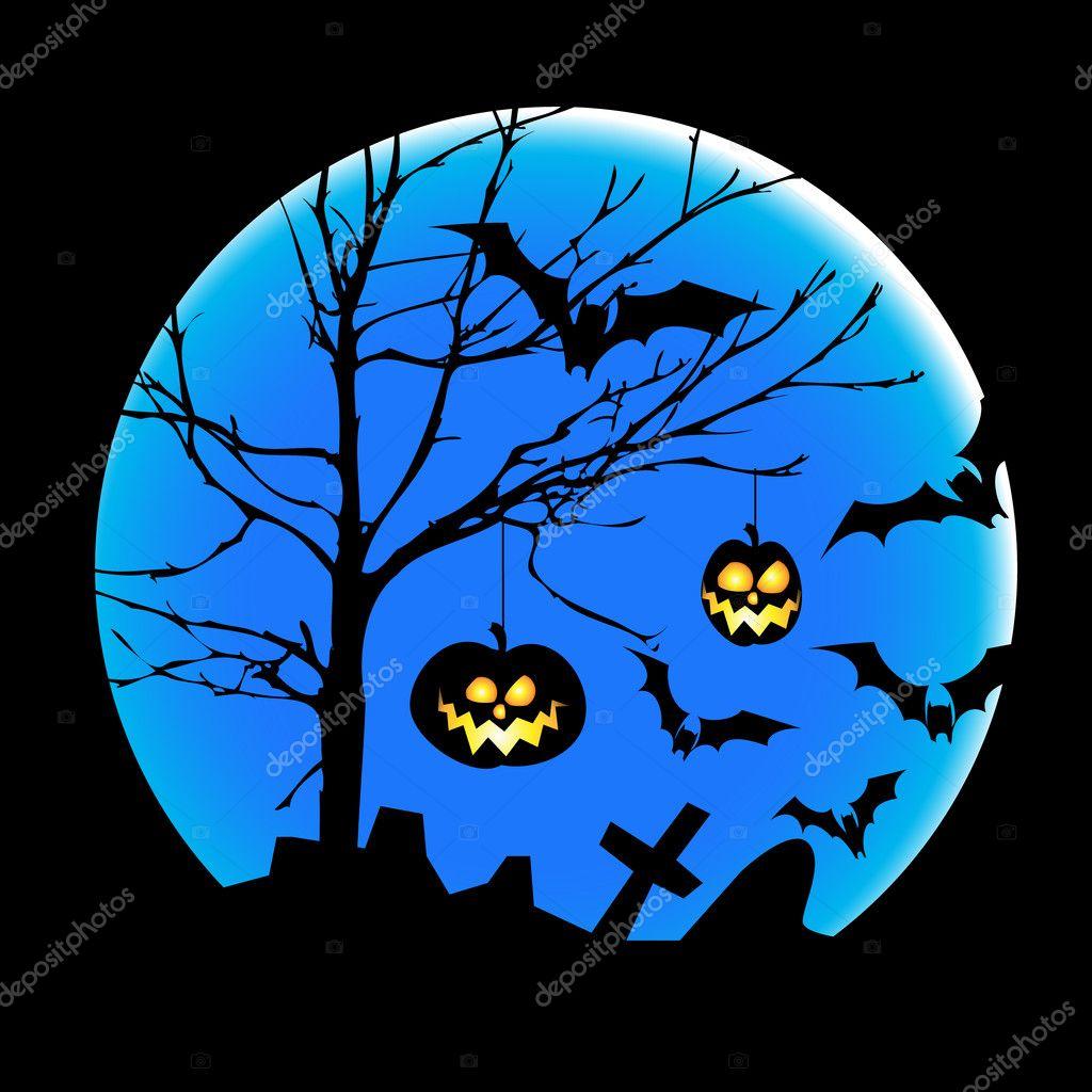 Halloween Illustration With Pumpkins, Bats And Big Moon