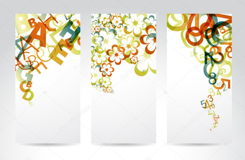 Vertical Banners with colorful rainbow numbers, letters, flowers — Stock Vector #5909798
