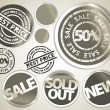 Set of grunge sale labels badges and stickers — Stock Vector #6022049