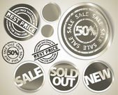 Set of grunge sale labels badges and stickers — Stock Vector