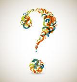 Gran interrogante hecha de pequeños signos de interrogación — Vector de stock