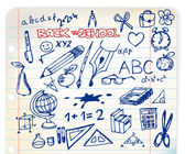 Set of school doodle illustrations — Stock Vector