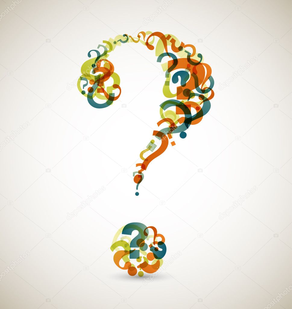 Big question mark made from smaller question marks (retro colors)  Grafika wektorowa #6022078