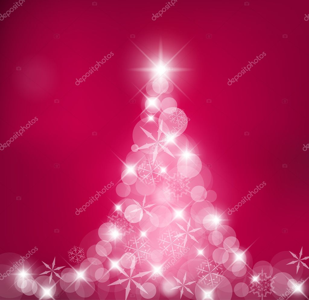 Purple Abstract Christmas tree made of light and snow flakes — Stock Vector #6023532
