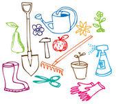 Garden doodle illustrations — Stock Vector