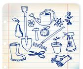 Garden doodle illustration collection — Stock Vector