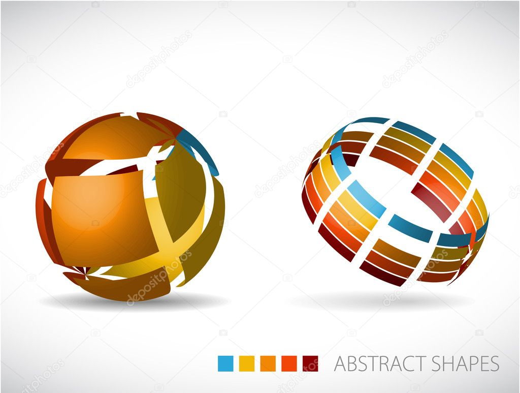 Collection of abstract spheres made from colorful stripes — Stock Vector #6036013