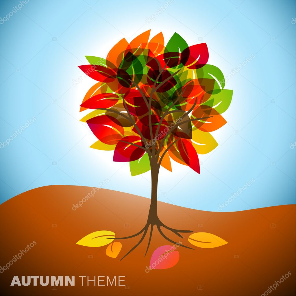 Vintage abstract autumn tree drawing with colorful leafs — Stock Vector #6036023