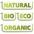Green bookmarks for organic food — Stock Vector