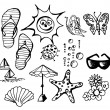 Summer doodle elements — Stock Vector