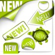 Set of green elements for new items - Stock Vector