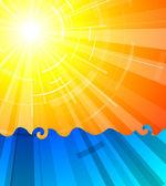 Really hot summer sun above the ocean — Stock Vector