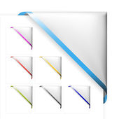 Set of white corner ribbons with colored thin border — Stock Vector
