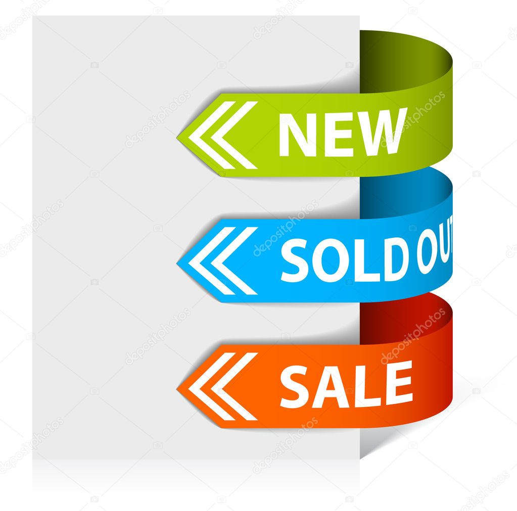 Set of arrows pointing at the new, sold out and discount item — Stock Vector #6099283