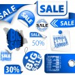 Set of blue discount elements — Stock Vector #6100299