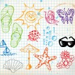 Summer doodle elements - Stock Vector