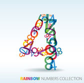 Number four made from colorful numbers — Stock Vector