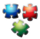 Zestaw błyszczące kolorowe puzzle — Wektor stockowy