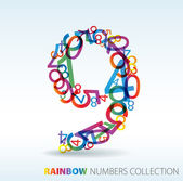 Number nine made from colorful numbers — 图库矢量图片
