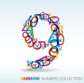 Numero nove fatte da numeri colorati — Vettoriale Stock