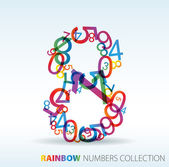 Number eight made from colorful numbers — Stock Vector