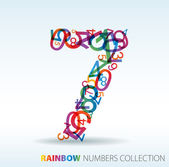 Number seven made from colorful numbers — Stock Vector