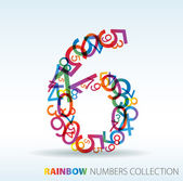 Number six made from colorful numbers — Stock Vector