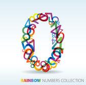Número zero feito de números coloridos — Vetorial Stock