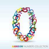 Number zero made from colorful numbers — 图库矢量图片