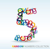 Number five made from colorful numbers — Stock Vector