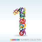 Number one made from colorful numbers — Vector de stock