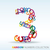 Number three made from colorful numbers — Stock Vector